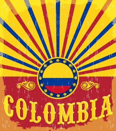 bandera de colombia: Colombia Cartel patriótico del vintage - diseño de la tarjeta del vector, decoración de vacaciones de Colombia