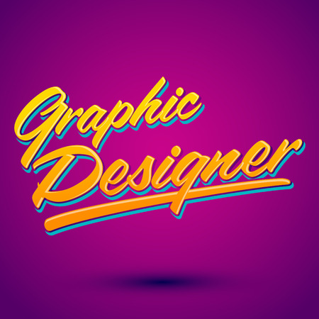 graphic: Graphic Designer vector lettering - professional career icon, emblem, tittle Illustration