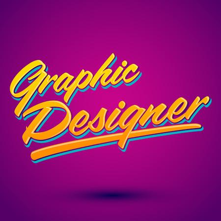 design: Graphic Designer vector lettering - professional career icon, emblem, tittle Illustration