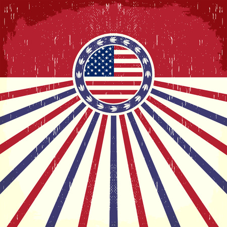 labour: America Vintage flag poster - Card, western - cowboy style, Grunge effects can be easily removed