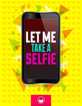 telefono caricatura: Perm�tanme un selfie, ilustraci�n vectorial con el tel�fono inteligente, el concepto de la historieta selfie Vectores