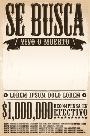 Se busca vivo o muerto, Wanted dead or alive poster spanish text template - One million reward - ready for your design Vettoriali