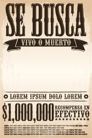 Se busca vivo o muerto, Wanted dead or alive poster spaans tekst sjabloon - Een miljoen beloning - klaar voor uw ontwerp