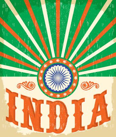 인도 빈티지 카드 - 포스터 벡터 일러스트 레이 션, 인도 플래그 색