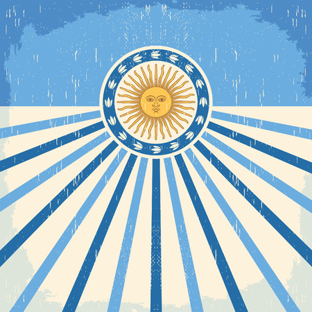 Abstract Argentina vintage card - poster vector illustration, argentina flag colors, grunge effects can be easily removed Иллюстрация