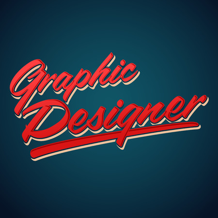 tittle: Graphic Designer vector lettering - professional career icon, emblem, tittle Illustration