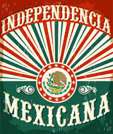 Independencia Mexicana - 멕시코 독립 빈티지 포스터 디자인 - 멕시코 국기 애국적인 색상 스톡 콘텐츠 - 44296273