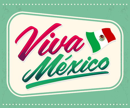 mexico culture: Viva Mexico - mexican holiday lettering - icon emblem vector decoration