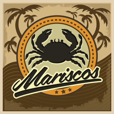 seafood: Mariscos - seafood spanish text - vector restaurant card, label, emblem, lettering Illustration