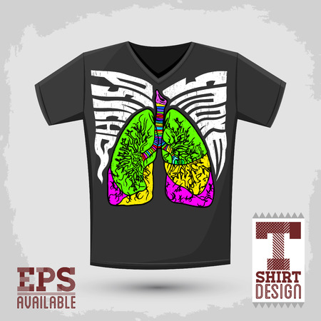 graphic design: Graphic T- shirt design, Psycho Smoke - vector illustration with lungs, crazy psychedelic retro style - shirt print