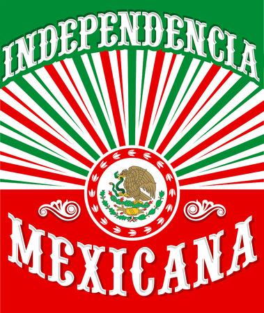 drapeau mexicain: Independencia Mexicana - l'indépendance mexicaine conception vintage d'affiche - drapeau mexicain couleurs patriotiques