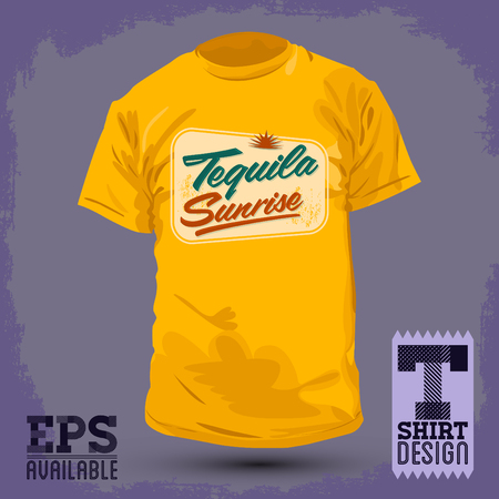 jersey: Tequila sunrise - Vector illustration shirt print, Graphic T- shirt design