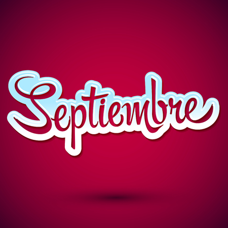 ninth: Septiembre - September spanish text, vector icon lettering, ninth month