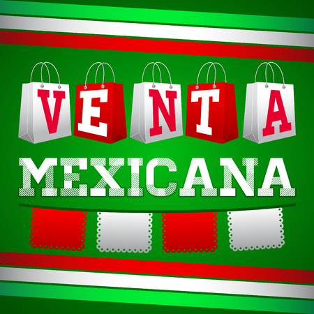 especial: Venta Especial Mexicana - Mexican Special Sale, Vector Promotional poster for Mexican sales with discounts