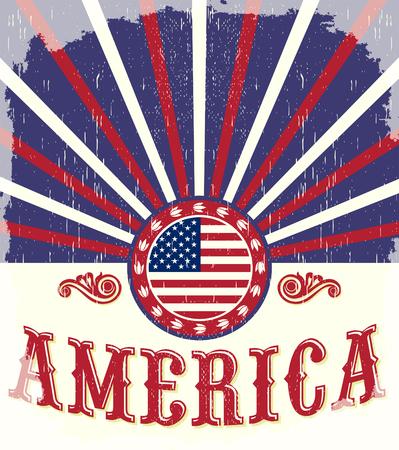 vaquero: Am�rica bandera del vintage Cartel - tarjeta, occidental - estilo vaquero, efectos Grunge se puede quitar f�cilmente Vectores