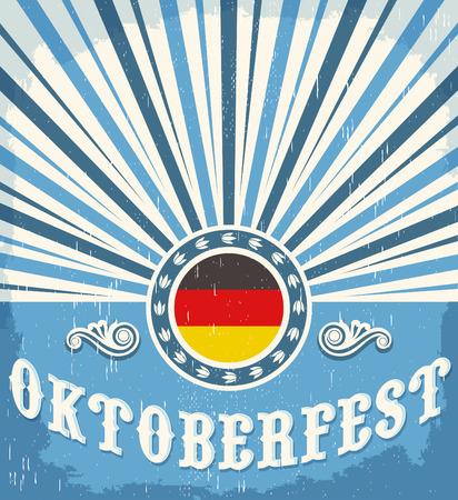 oktober: Oktoberfest vintage celebration poster design - Vector old paper illustration Illustration