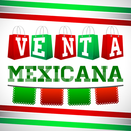 especial: Venta Especial Mexicana - Mexican Special Sale spanish text, Vector Promotional poster for Mexican sales with discounts Illustration