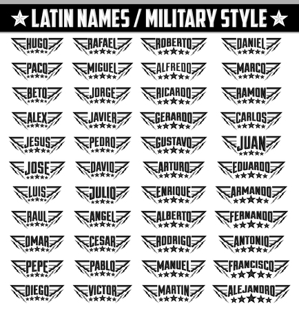 dogtag: Hispanic popular names, Set of military style badges with personal latin names, armed forces icon with your name Illustration