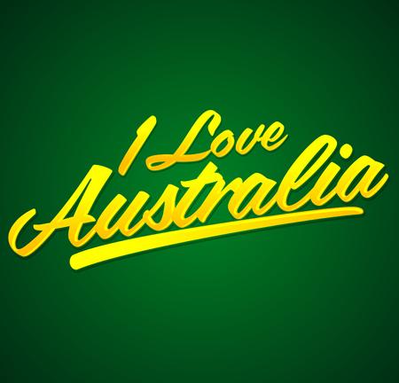 I love Australia - vector lettering, icon, emblem typographic design
