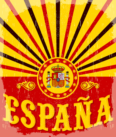 bandiera spagnola: Espana - Spain testo in lingua spagnola - carta d'epoca - manifesto illustrazione vettoriale, colori della bandiera spagnola, effetti grunge pu� essere facilmente rimosso Vettoriali