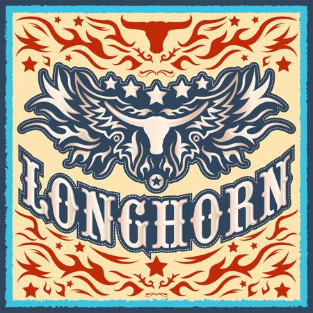american rodeo: Diseño occidental de la vendimia Longhorn vector - el cartel del vaquero del rodeo