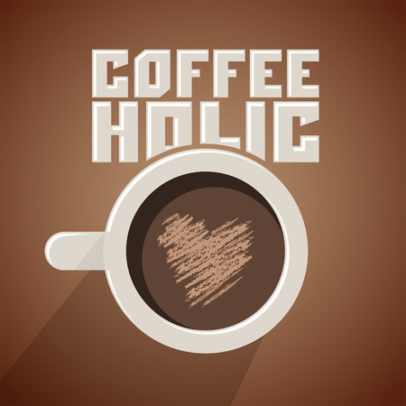 addict: Coffeeholic, coffee addict vector design, Modern phrase for coffee lovers, cup and heart-shaped foam illustration