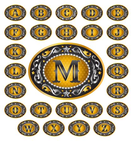 Alfabet Cowboy riemgesp design - omvat alle letters van het alfabet - rodeo belt buckle stijl, vector Master Collection