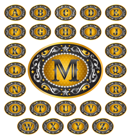 gold buckle: Alphabet Cowboy belt buckle design -  includes all the letters of the alphabet - rodeo belt buckle style, vector master collection Illustration