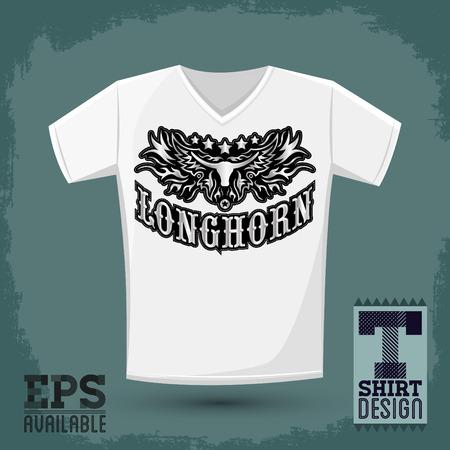Longhorn 西部 t シャツ ベクター デザイン - ロデオ カウボーイ ジャージー