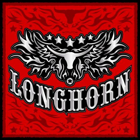 Longhorn metallic western vector design - Rodeo cowboy poster