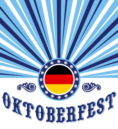Oktoberfest celebration poster design - Vector illustration, Germany flag