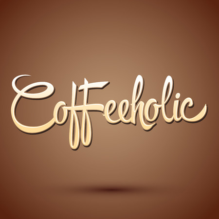 addict: Coffeeholic, coffee addict vector lettering design