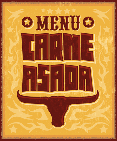spanish bull: Carne asada, roast meat - barbecue spanish text menu