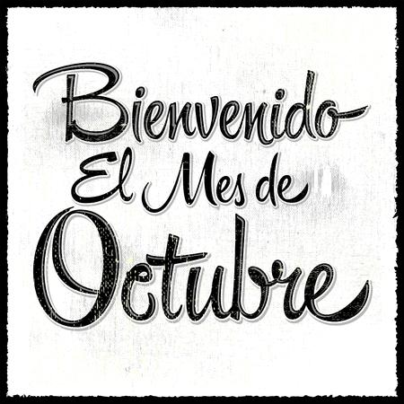 Bienvenido el mes de Octubre - Welcome October spanish text, vector lettering message