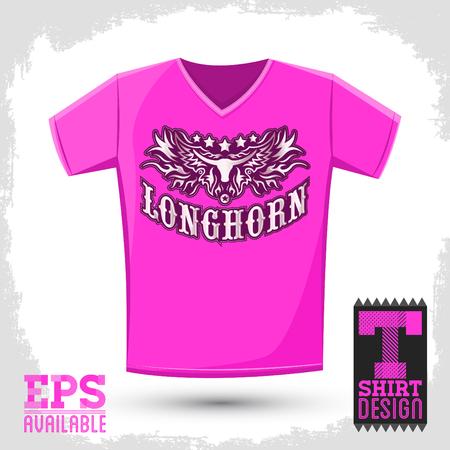 Longhorn western t shirt vector design - Rodeo cowboy jersey