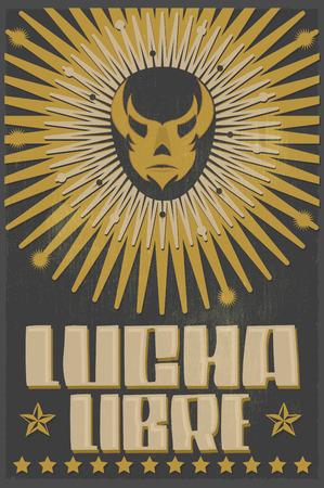 traje mexicano: Lucha Libre - luchando texto español - máscara de luchador mexicano - cartel de la serigrafía