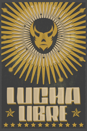 mexican culture: Lucha Libre - wrestling spanish text - Mexican wrestler mask - silkscreen poster Illustration