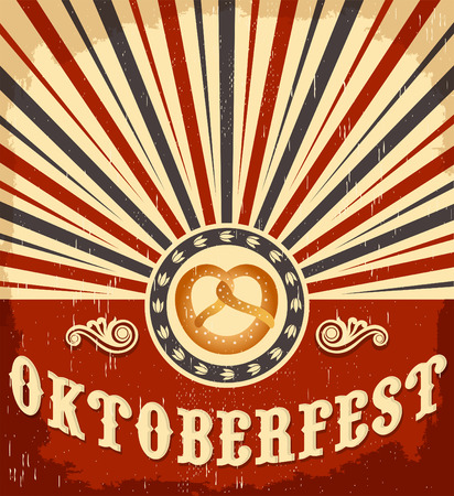 Oktoberfest vintage celebration poster design - Traditional pretzel Vector card Çizim