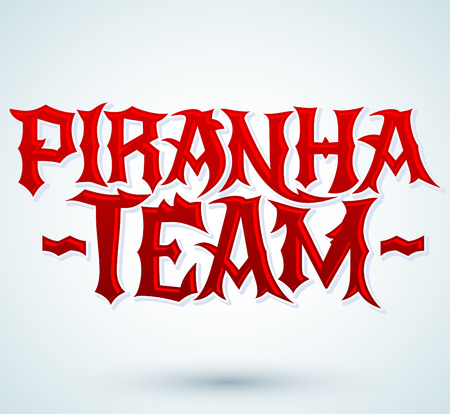 voracious: Piranha Team - vector punk style lettering, Team emblem Illustration