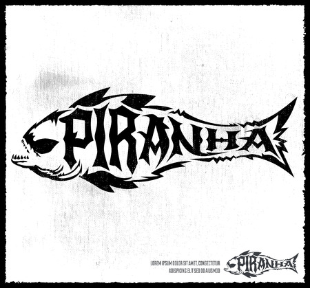 Piranha vector lettering with the shape of a fish - hardcore emblem