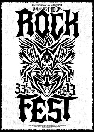 fest: Hardcore Rock fest poster design template - metal festival monochrome label Illustration