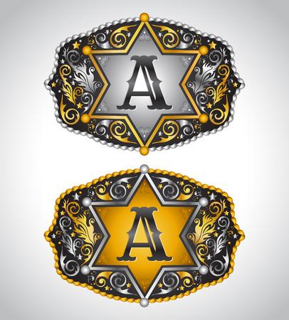 カウボーイのロデオ ベルト バックル デザイン - a - アルファベットの初期ベクター デザイン  イラスト・ベクター素材