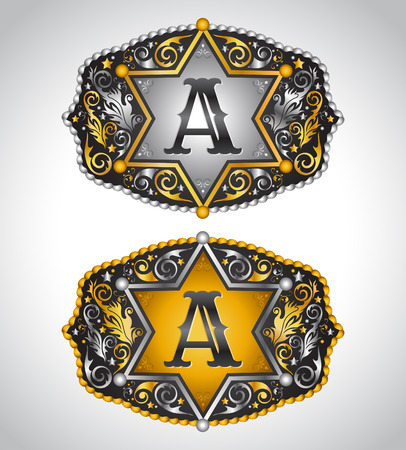 belt buckle: Cowboy Rodeo belt buckle design - Letter A -  Alphabet initial vector design