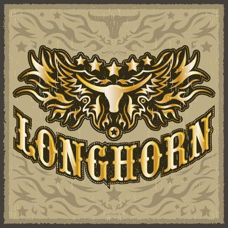 lone: Longhorn vintage western vector design - Rodeo cowboy poster