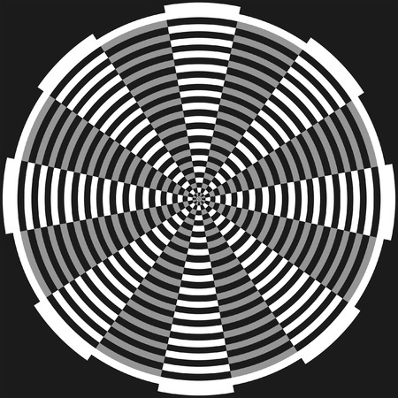vanish: Geometrical circle design, Abstract monochrome background. Vector optical art illustration