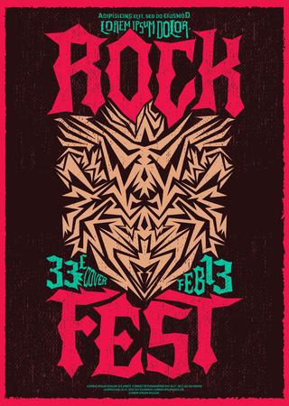fest: Hardcore Rock fest poster design template - metal festival label Illustration