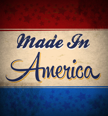 old poster: Retro - Vintage Made in America Sign, old poster - american card Stock Photo