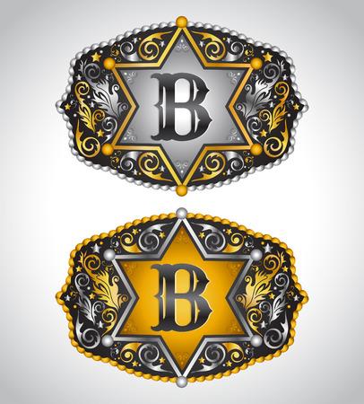 カウボーイのロデオ ベルト バックル デザイン - 文字 B - アルファベットの初期ベクター デザイン  イラスト・ベクター素材