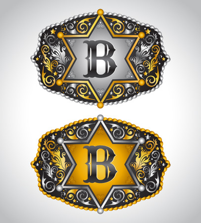 cooper: Cowboy Rodeo belt buckle design - Letter B - Alphabet initial vector design