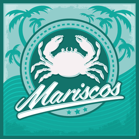 Mariscos - seafood spanish text - vector restaurant card, label, emblem, lettering Illustration